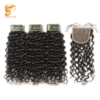 AOSUN HAIR Brazilian Hair Weave Bundles with Closure Natural Unprocessed Color Remy Human Hair Italian Curly 4pcs/Lot