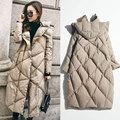 2016 New Winter Jacket Women Korean Fashion Long Coat Parkas Loose Hooded Knee Down Jacket Velvet Coat White Goose Down
