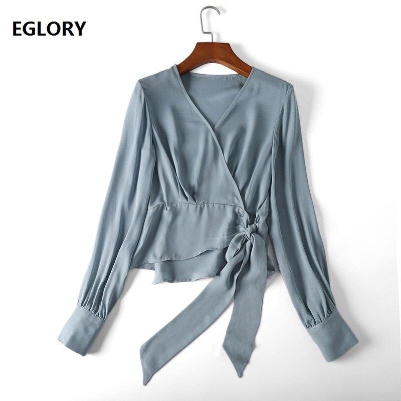 100% Blouse en soie de haute qualité marque Style coréen 2019 printemps été chemise femmes col en v Bowknot à manches longues élégant Blouse hauts