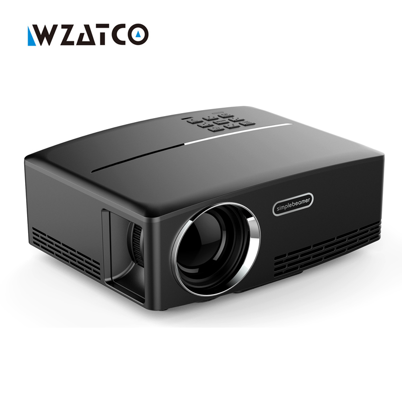 WZATCO GP80 1800lumens Portable HD home cinema LED Projector HDMI LCD Game PC Digital Mini Projectors 1080P Proyector 3D Beamer 3500 lumens home projector entertainment cinema 1024 768pixels updated free hdmi full color office projector game proyector