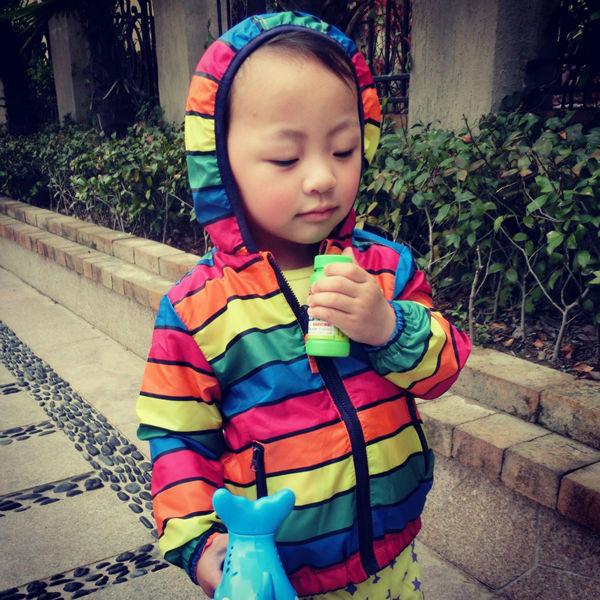 Yeni moda hər iki tərəf rəngli rəngli zolaqlar geyir, uşaqlar - Uşaq geyimləri - Fotoqrafiya 2