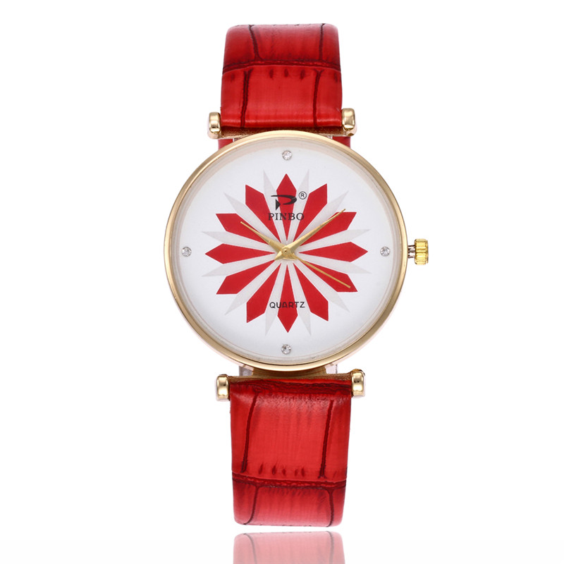 FUNIQUE Minimalist Women Watch Sweet Quartz Analog Leather Clock Montre Homme Flower Printed Women Wrist Watch For Dropshipping
