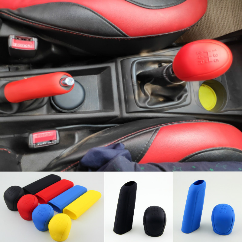 Fuluera 2pcs//Set PU Leather Car Gear Shift Cover PU Hand Brake Gear Shift Cover Handbrake Grips Case Manual Gear Head Shift Knob Shell