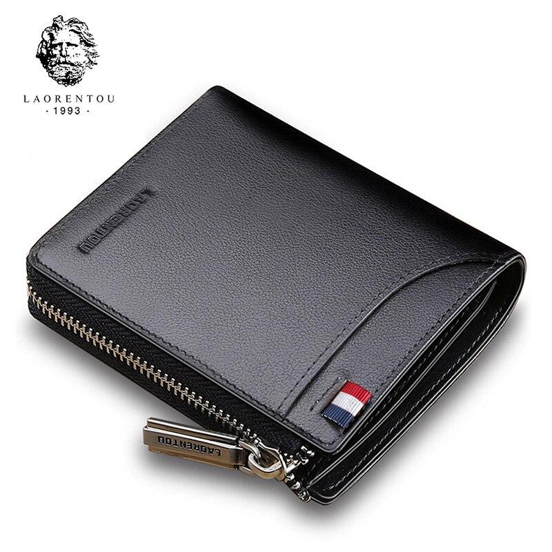 LAORENTOU Men Wallet Genuine Leather Card Holder Man Luxury Short Wallet Purse Zipper Wallets Casual Standard Wallets For Women