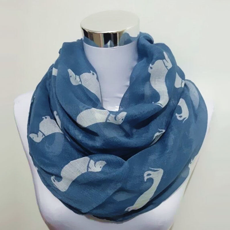 New Brand Ring Scarf Dachshund Dog Print Scarfs For Women Autumn Shawl And Scarves Ladies Infinity Scarf