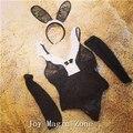 Yomrzl nova chegada do verão da mulher sexy lace pajama set, uma peça sleepwear, senhora coelho conjunto sono L169