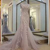 Elegant Gray Tulle 2017 Evening Dress Vestido De Festa With Beaded Crystal Lace Appliques Court Train