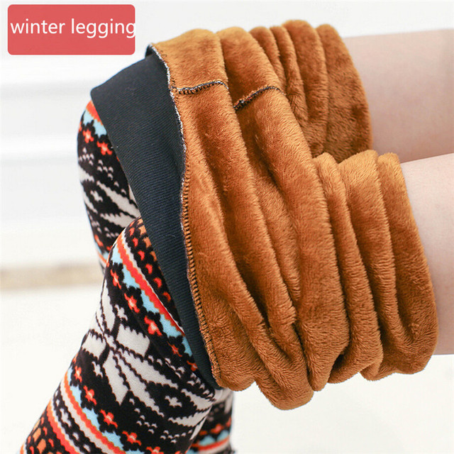 2016 Winter Warm Leggings Snowflake Printed High Waist Boot Pants Fleeces Inside Footless Legging DD8265