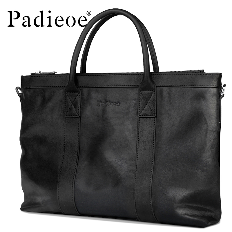 Padieoe New Arrival Luxury Men's Portfolio Top Genuine Cow Leather Briefcase For Men Large Capacity Men's Tote Bag Laptop Bag
