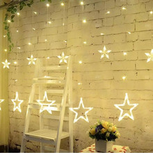 2.5M Christmas LED Lights AC 220V Romantic Fairy Star LED Curtain String Lighting Strip Holiday Wedding Garland Party Decoration blue 180 led christmas decoration string lights 18 meter 220v ac