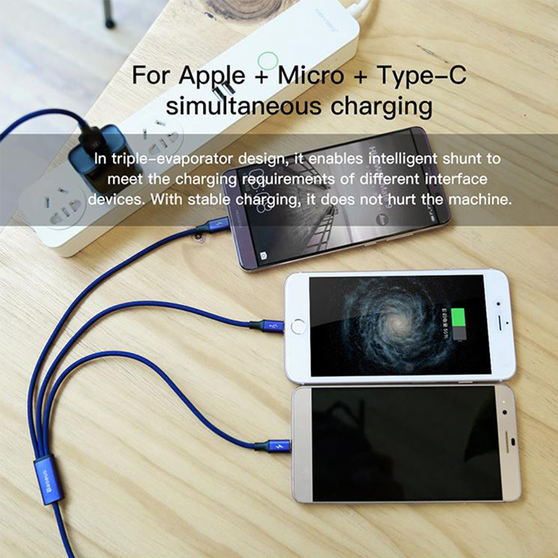 Baseus USB Charger Cable For iPhone 5 6 7 Samsung S8 Huawei Mobile Phone USB Cable For iPhone USB TYPE C Android Micro USB Cable