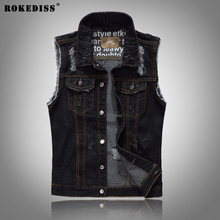 ROKEDISS Denim Vest Mens Jackets Sleeveless Fashion Washed Jeans Waistcoat Mens Tank Top Cowboy Male Ripped Jacket W085