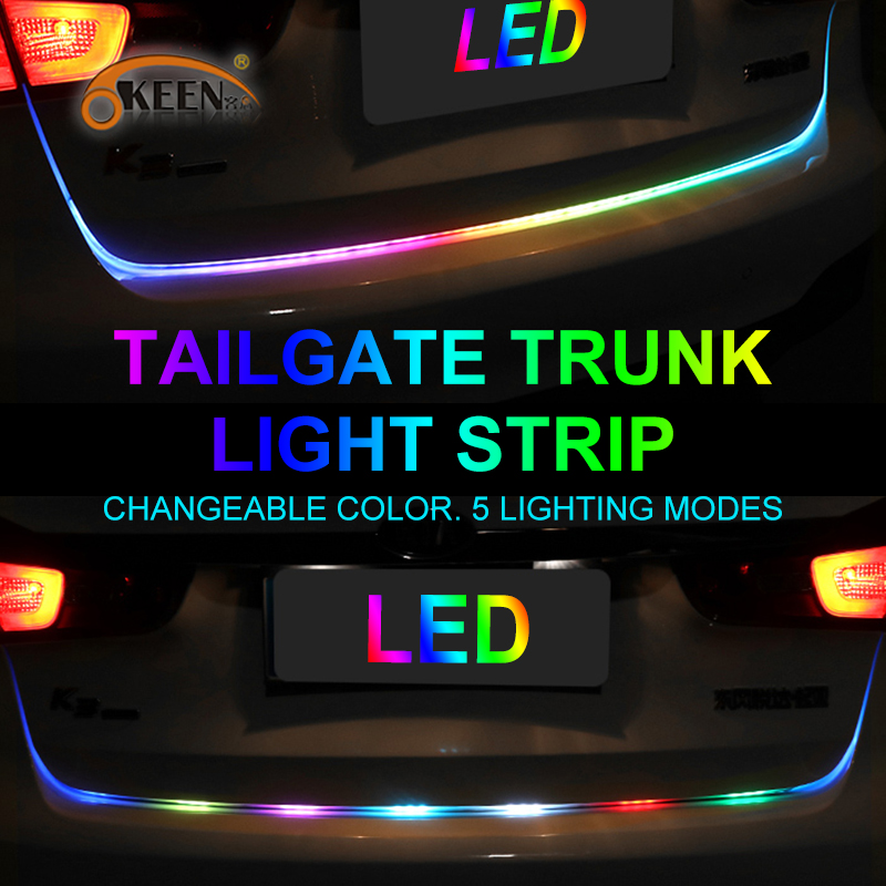 OKEEN car-styling 47.6inch car led trunk strip Light  with yellow turn signal  Tailgate LED  flash Light Bar Reverse strips