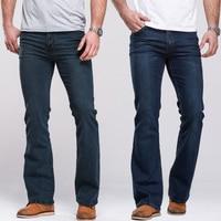 Mens Boot Cut Jeans Slightly Flared Slim Fit Famous Brand Blue Black jeans Designer Classic Male Stretch Denim jeans