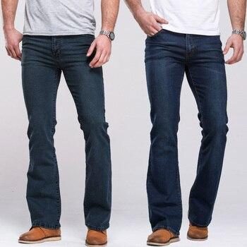 Mens Dei Jeans Boot Cut Leggermente Svasato Slim Fit Famoso di Marca Nero Blu jeans Del Progettista Classico Maschio di Stirata Del Denim dei jeans