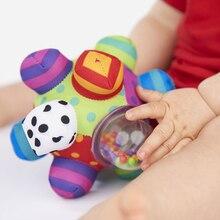 Mutifunctional ребенка тактильные сенсорными кольцо мяч 0-12 месяцев детские мягкие ткани рука погремушки колокол может поезд схватив способность игрушка