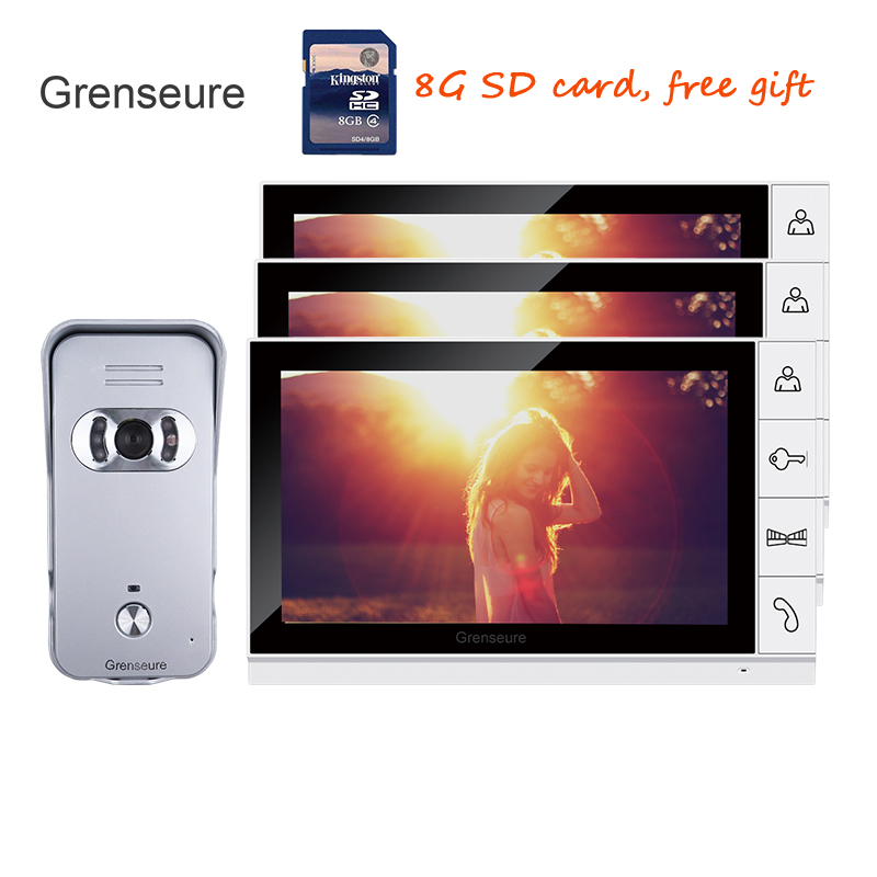 FREE SHIPPING New 9 Color Screen Recorder Video Door phone Intercom Kit + Waterproof Outdoor Camera + 3 White Monitors + 8G SD alice s adventures in wonderland