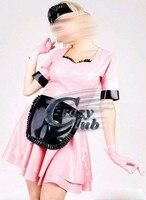 Сумасшедший club_Latex dress casual Латекса одеть Сексуальный латекс набор осенние женщины dress розовый фетиш лолита vestidos Продажа на линии