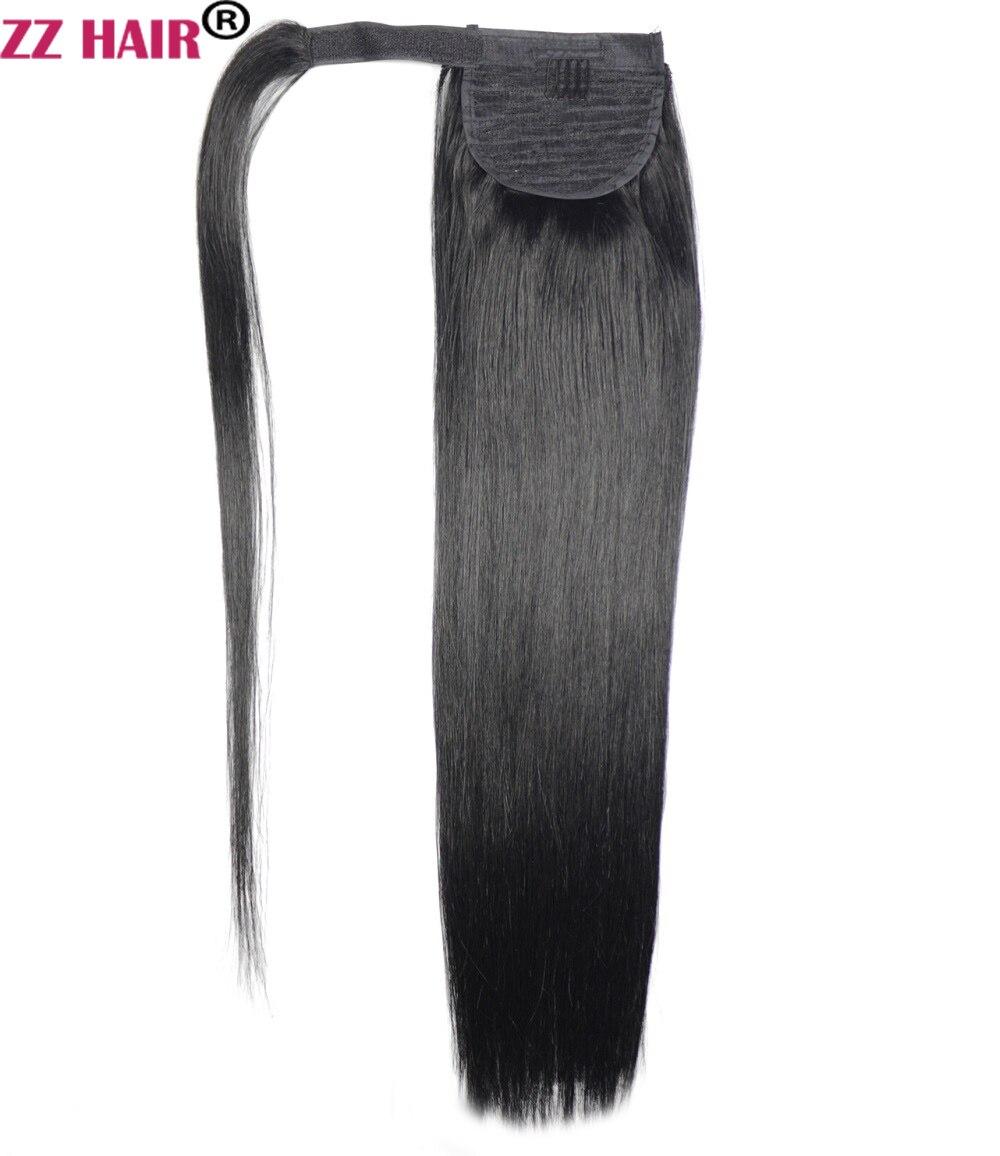 ZZHAIR 100g 16 -26 Machine Fait Remy Cheveux Magique Wrap Around Queue de Cheval Clip Dans 100% Des Extensions de cheveux Prêle Stragiht