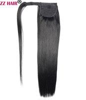 ZZHAIR 20 51cm 100 Human Hair Brazilian Clip In Human Hair Extensions Magic Velcro Ponytail Horsetail