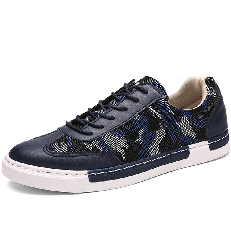 Italian Fashion Mens Blue Camouflage Shoes Casual Leather ...