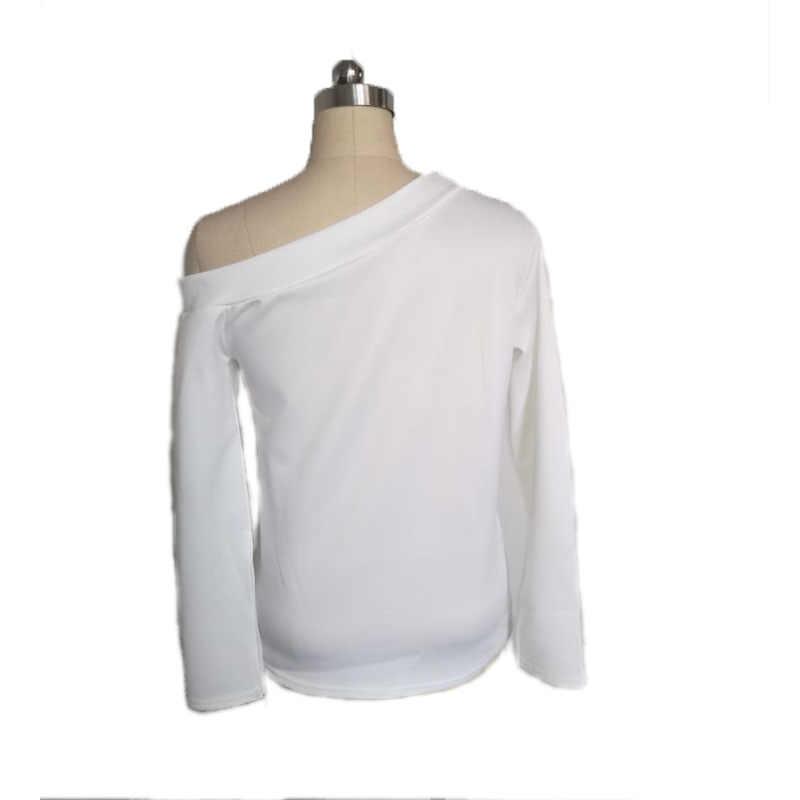 Женские футболки Корейская одежда Большие размеры плечо длинный рукав сплошной цвет Футболка Джокер Топ белая женская футболка Сексуальная футболка