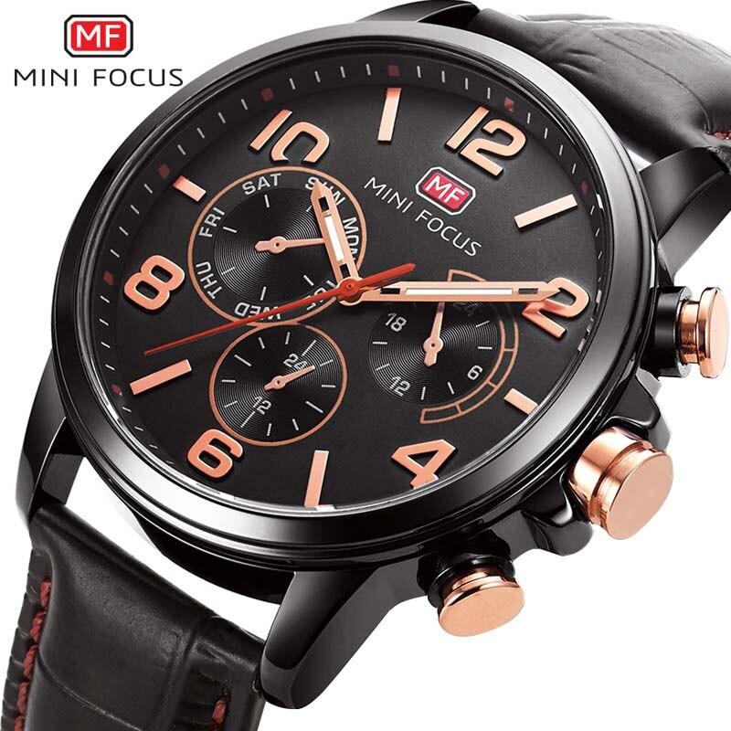 New Brand Gold Mens Watches Top Brand Luxury PU Leather Wristwatch Mens Gift Quartz Watch Discount Relogio Masculino MINI FOCUS