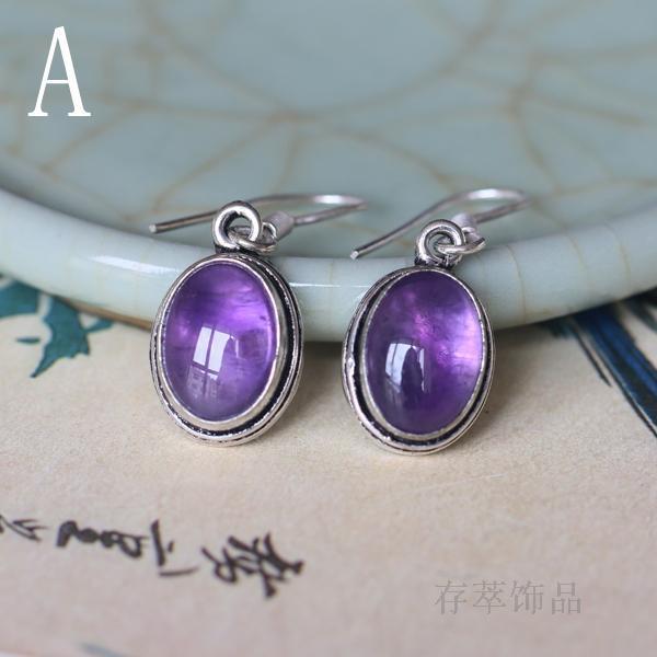 925 sterling silver hand-inlaid natural earrings beautiful simple wild women retro earrings