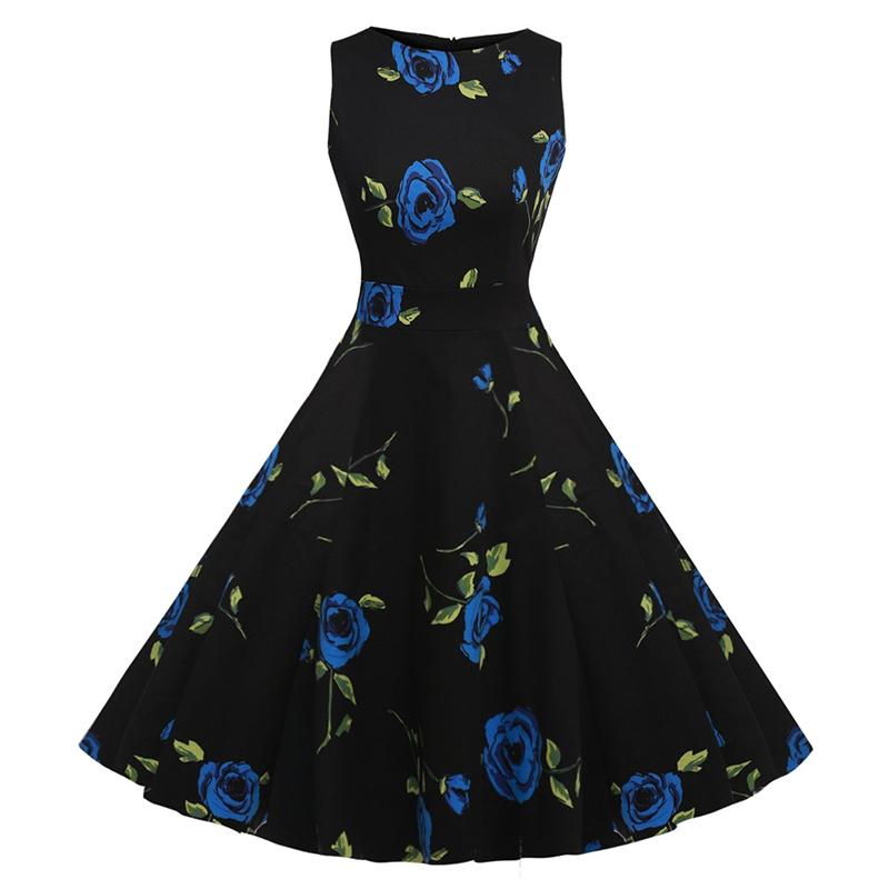 Kostlish Cotton Summer Dress Women 2017 Sleeveless Tunic 50s Vintage Dress Belt Elegant Print Rockabilly Party Dresses Sundress (52)