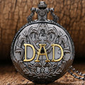 Retro Father's Day Gift Luxury Black Quartz DAD Pocket Watch Steampunk Hour relogio masculino
