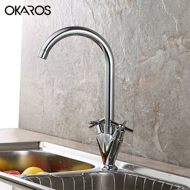 OKARAS Kitchen Sink Faucet Deck Mounted Chrome Finish Dual Handle 360 Degree Rotation Hot And Cold