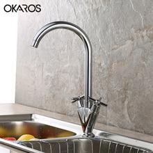 Okaras Кухня раковина кран на бортике хромированная отделка двойной ручкой 360 градусов вращения горячей и холодной воды смеситель torneira