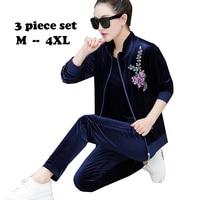 2019 Large size Women clothing Middle aged women Sporting suit set 3 Piece set Women printing tracksuits velvet plus size 4xl