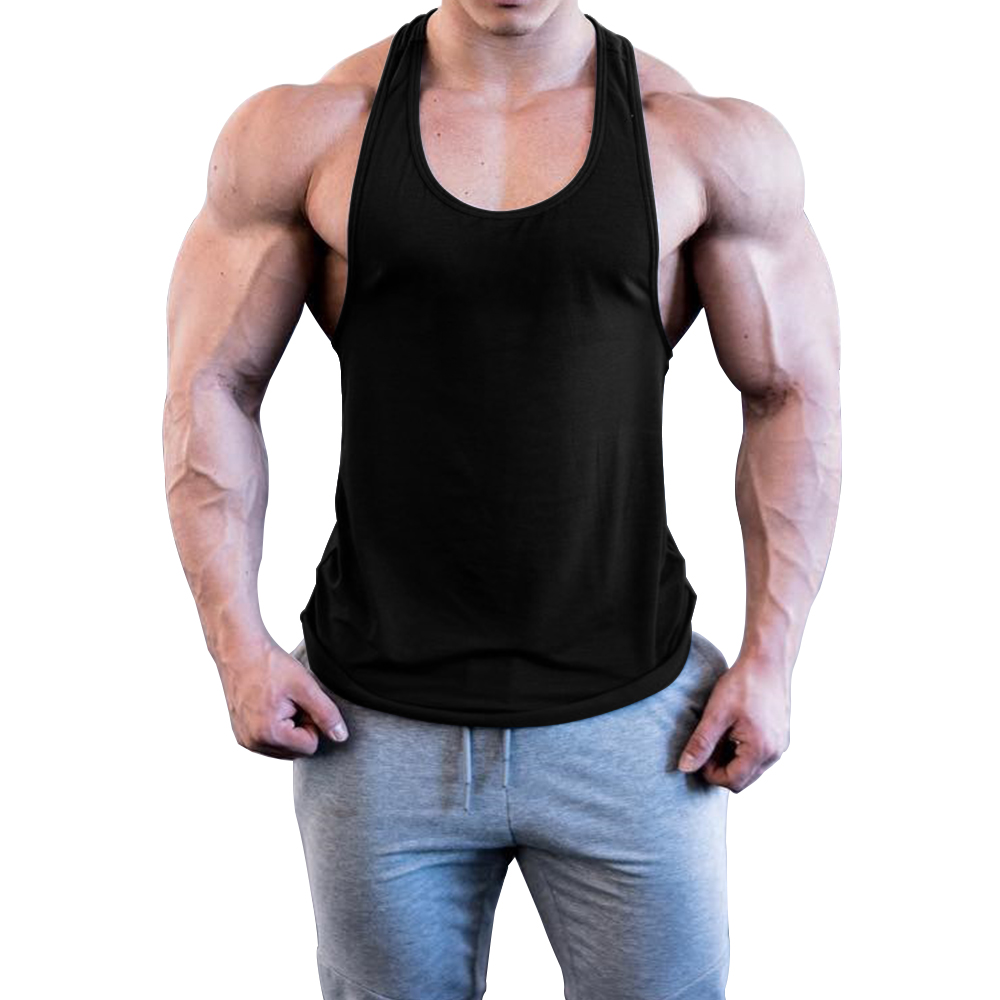 OA Men Solid Color Bodybuilding Stringer Gyms Tank Top Fitness Singlet Cotton Sleeveless Sport Shirt Muscle Fit Vest