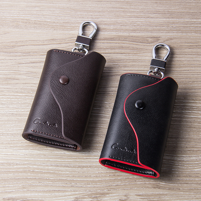 CONTACT'S Men's Genuine Leather Key Wallets Fashion Housekeeper Key Holders Male Keychain Casual Key Case For Men Key Rings 4