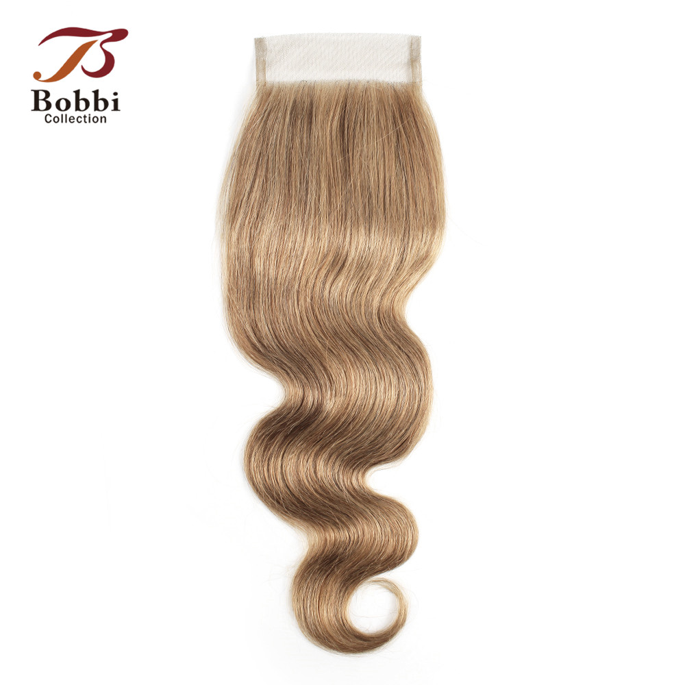 Bobbi Collection Color 8  Blonde 4x4 Lace Closure Brazilian Body Wave Remy Human Hair Free Part Middle Three Part