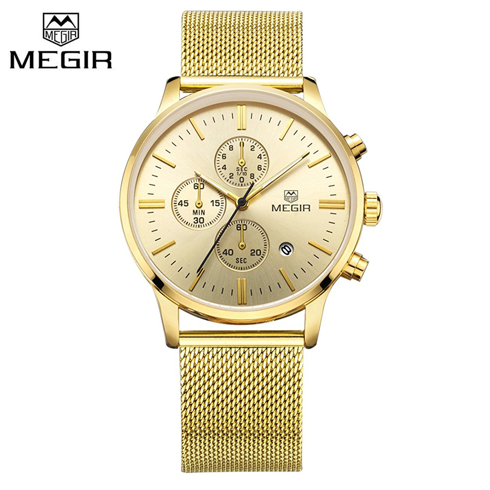 2018 Megir Golden Men Watch Luxury Fashion Business Quartz Watches Calendar Chronograph Analog Wristwatch Clock Man 2011 цены онлайн