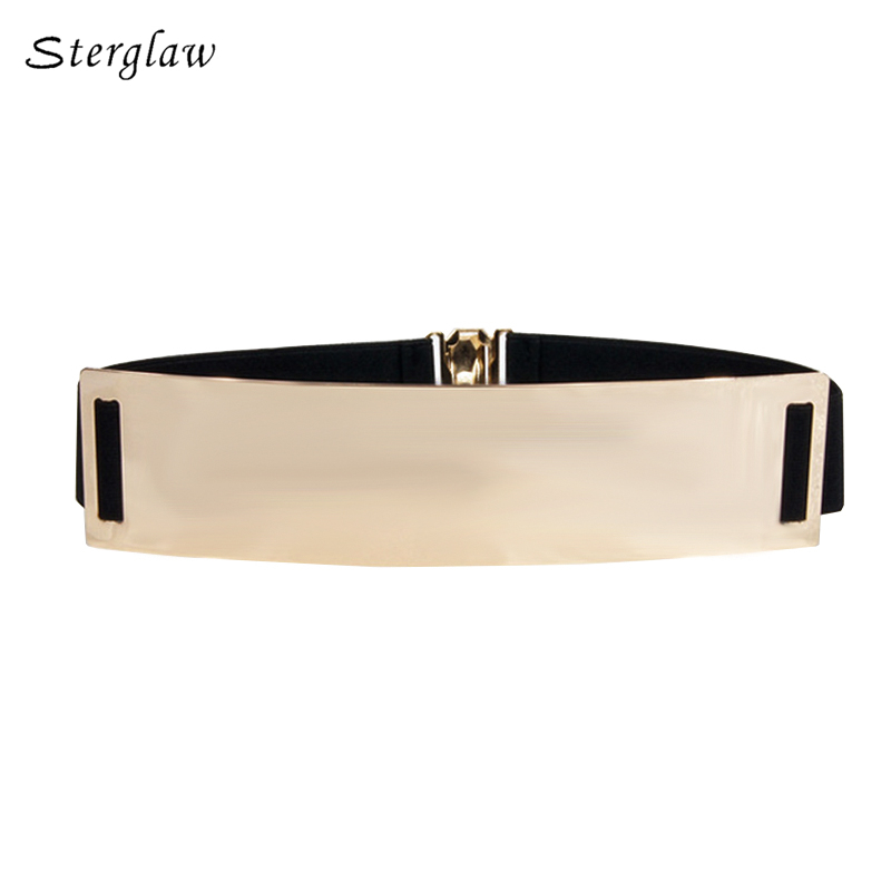 Wide 6CM Gold Metal Bling Mirror Plate Belt Women's 2020 Bridal Stretch Elastic Belt Female Sexy Gold Belt Cinto STERGLAW J005