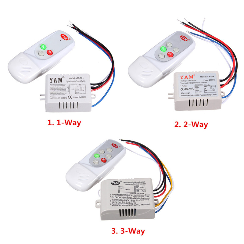 220V 1/2/3 Ways Wireless ON/OFF/SLEEP Lamp Remote Control Switch Receiver Transmitter 50Hz Popular 1pcs 1 2 3 4 ways on off wireless light lamp remote control switch receiver transmitter white 300w 180 240v