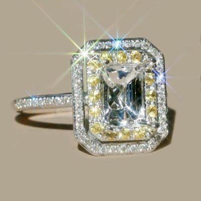 Jewelry Emerald 5x7mm Solid 14kt White Gold 0.85Ct  Diamond Yellow Sapphire Engagement Semi Mount Ring,Amazing,Fancy