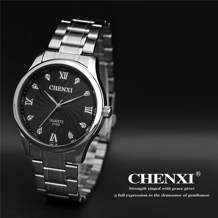 Fashion Rhinestone Rome Time Scale Men's Wristwatch Full Steel Analog Quartz Business Man Watch Men Casual Watches Chenxi Brand