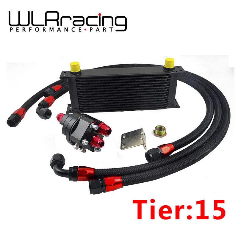 WLRING- BLACK UNIVERSAL 15 ROWS ENGINE OIL COOLER+ALUMINUM OIL FILTER/COOLER RELOCATION KIT+3X NYLON BRAIDED HOSE LINE+ADAPTER epman universal 10 row oil cooler kit with oil filter relocation kit for turbo race ep ok1012