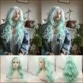 Привлекательные Женщины Длинные Волнистые Волосы Синтетические Кружева Перед Парики Высокое Качество Пастель Светло-Зеленый Цвет Жаропрочных Парики Бесплатная Доставка
