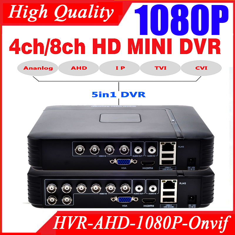 Smar Mini 4/8CH полный D1 H.264 HDMI безопасности Системы CCTV DVR 4/8 канала 720 P 1080 P NVR Hybrid AHD DVR Регистраторы мобильный HVR RS485