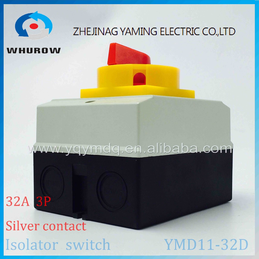 Isolator switch YMD11-32D 3P 690V with protective box waterproof load break rotary changeover switch air-conditoning pump system 660v ui 10a ith 8 terminals rotary cam universal changeover combination switch