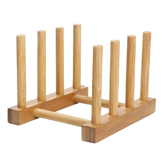 Natural Bamboo Folding Dish Drying Rack 3 Pots Lid Flatware Holder ...