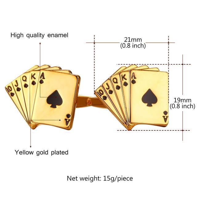 Mens Golden Silver Playing Poker Cards Cufflink