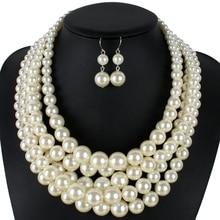 Collar de perlas de múltiples capas de moda simulado grano de la perla de las mujeres de plástico clásico collar de cadenas collares de moda joyería del partido 8050