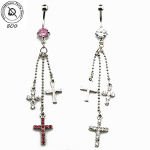 BOG -1 Piece Belly Button Ring Navel Piercing Body Jewelry with Long Tassel And Three Gem Paved Cross Dangle(China)