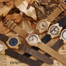 Solid Wood Watch for Men Wristwatches Minimalist Design Original Men Wooden Bamboo Watch Engrave Male Wrist Clock Montre Homme